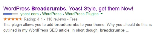 breadcrumbs in serps